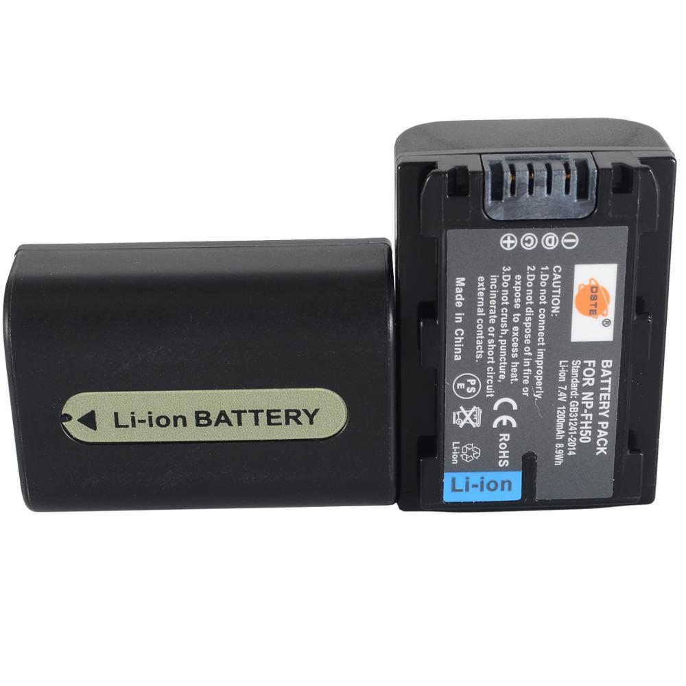 DSTE 2PCS NP-FH50 Rechargeable Battery for Sony A230 A290 A390 DSC-HX1 HX100 HX200 HDR-TG1E TG3 TG5 TG7 Camera