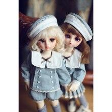 BJD poupées vêtements brodé marin costume avec robe chapeau chaussettes pour 1/6 BJD poupées cadeaux-rétro bleu (pas de poupée et chaussures)