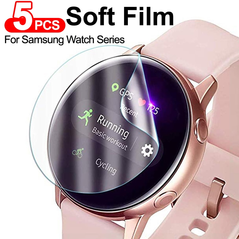 5Pcs Screen Protector for Samsung Galaxy watch Active 1 2 44mm 40mm Soft Film For Samsung Gear S3 Ultra-thin Full Film Cover