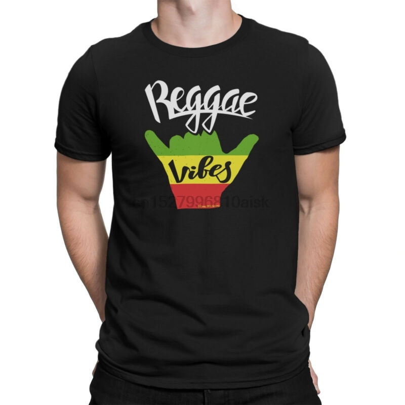 Mens T-Shirt REGGAE VIBES Peace Guitar Drum Band Jamaican Dance Music Novelty