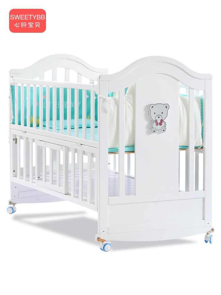 Crib Solid Wood White European Style Baby BB Bed Bassinet Newborns Multi-functional Joint Bed