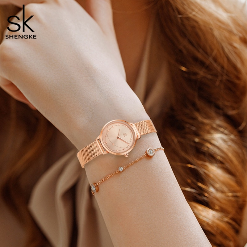 Luxury Rose Gold Women Watches Unique Irregular Pattern Elegant Mesh Strap Fashion Casual Ladies Quartz Wristwatch Waterproof enlarge