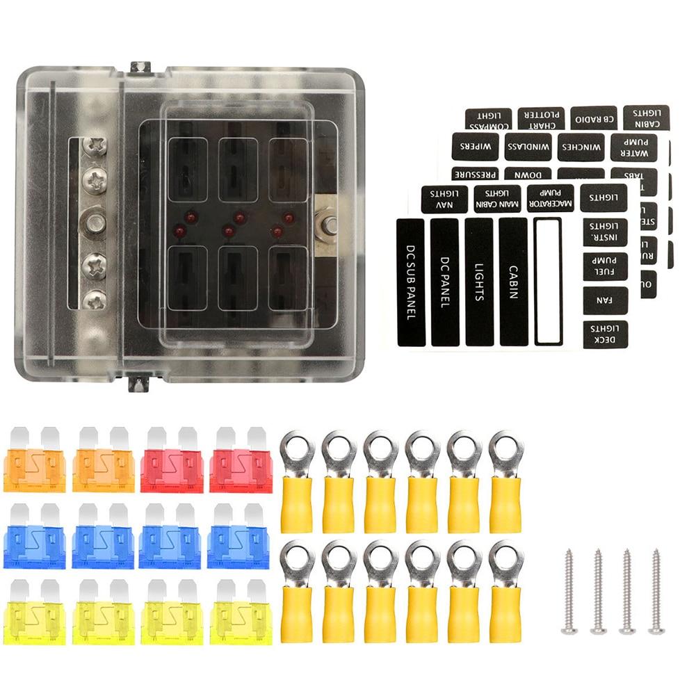 Panel de pala de barco de 8 vías 12V 24V, Protector de circuito práctico, piezas de repuesto, envío con indicadores LED, caja de fusibles antipolvo