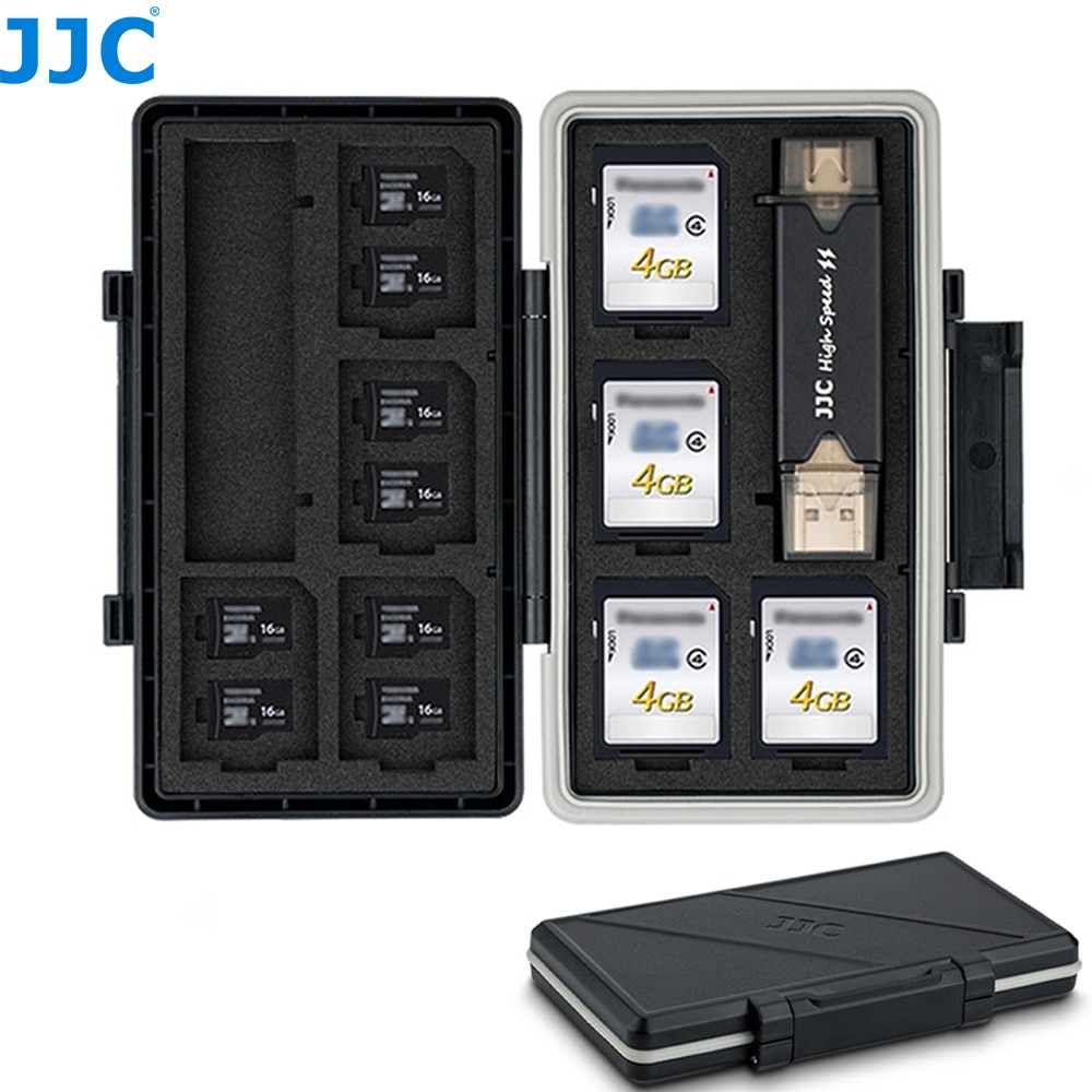 JJC 24 Slots Memory Card Case Holder Wallet for 8 SD SDXC SDHC + 16 MSD Micro SD TF Card Box Storage Organizer with Card Reader