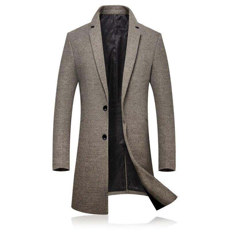 Осенне-зимнее новое шерстяное пальто, мужское пальто в британском стиле, однотонное длинное приталенное Мужское пальто, ветровка в английс...