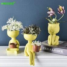 Pot de fleurs en résine avec Avatar de personnage   Sculpture artistique de Simulation, décoration de bureau, Micro bijoux paysage de maison