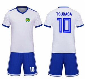 Captain Tsubasa Nankatsu School Football Jersey Sets No.10 Tsubasa Ozora Cosplay White Soccer Top Tee & Blue Shorts