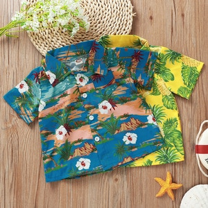 Summer Children Casual Cute Short Sleeve Turn-down Collar Single Breasted Print  Beach Style Baby Girl And Boys T-shirt 6M-5T