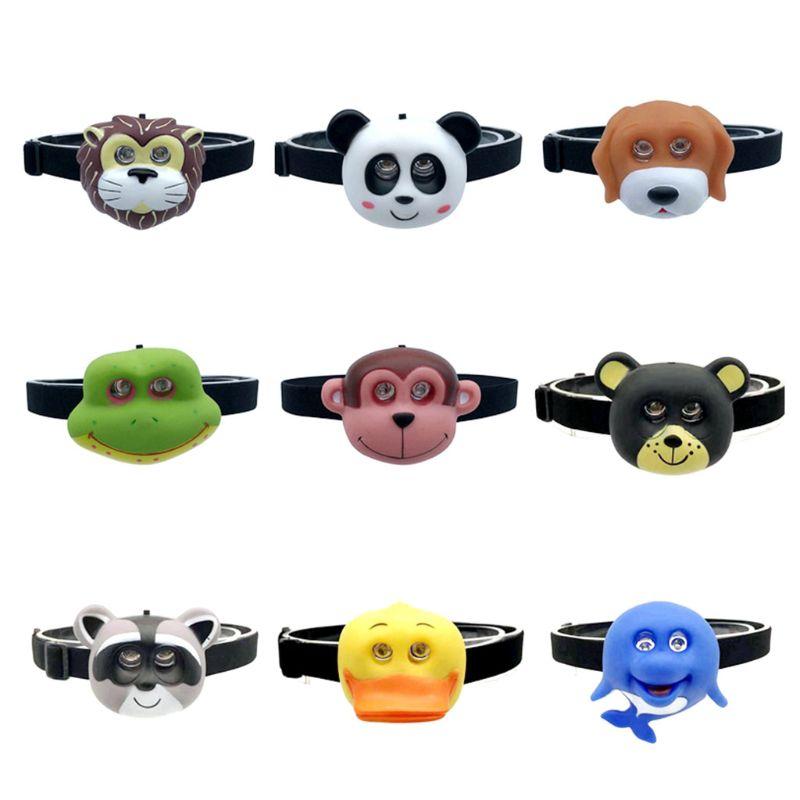 FARO para niños con diadema, linterna de Animal de dibujos animados, linterna SOS, regalo para niños