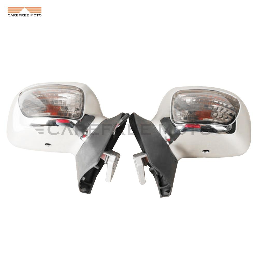 Chrome Motorrad Rückspiegel mit Klar Signal Licht Fall für Honda Goldwing GL1800 2001-2011