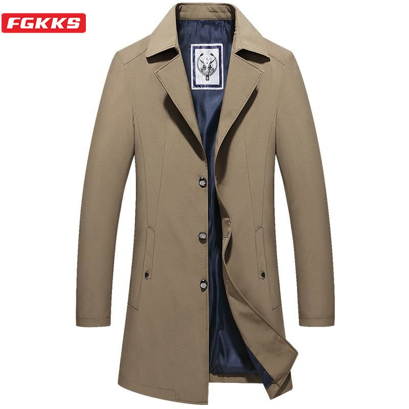 Gabardina de marca de moda fgkks para hombre, chaquetas de Color sólido, abrigo Vintage para hombre, Chaqueta larga de negocios, abrigos, gabardina grande para hombre