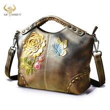 Flower Emboss Quality Leather Famous Brand Luxury Ladies Large Shopper handbag Shoulder bag Women De
