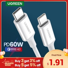 Ugreen PD 60W USB C to USB Type-C Cable QC4.0 3.0 Fast Charge Data Cable for Macbook Samsung S9 Plus