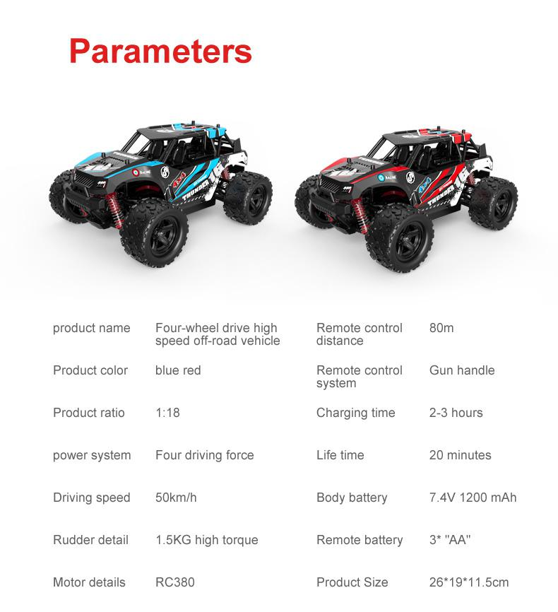 RC Off-road Vehicle 40+MPH 1/18 Scale RC Car 2.4G Radio 4WD High Speed Fast Remote Controlled Large TRACK RC Toys enlarge
