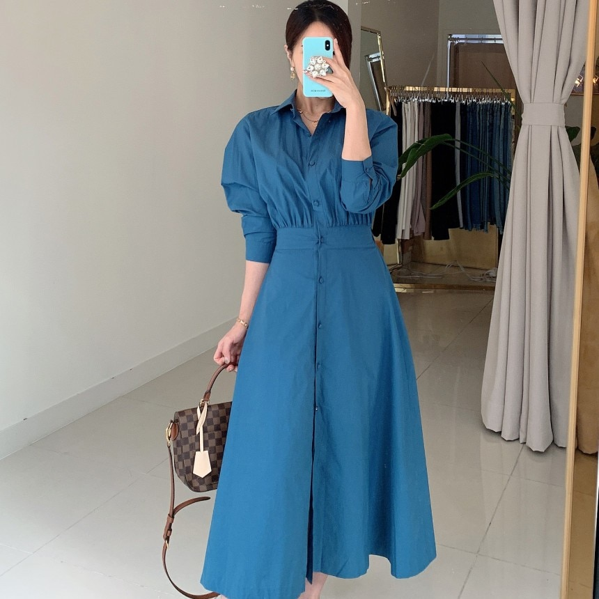 2021 Spring Clothing Korean Style Chic French Elegant Shirt Single-Breasted Lace up Waist Slimming L