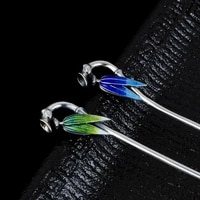 925 sterling silver chinese hair stick bamboo luxury jewelry cloisonne enamel hairpins green blue vintage head accessories