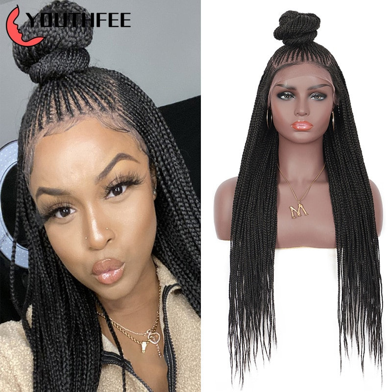 Youthfee Briaded Wigs Synthetic Braided Lace Front Wigs 13x7 Updo Cornrow Lace Wig With Baby Hair for Black Women Box Braids Wig