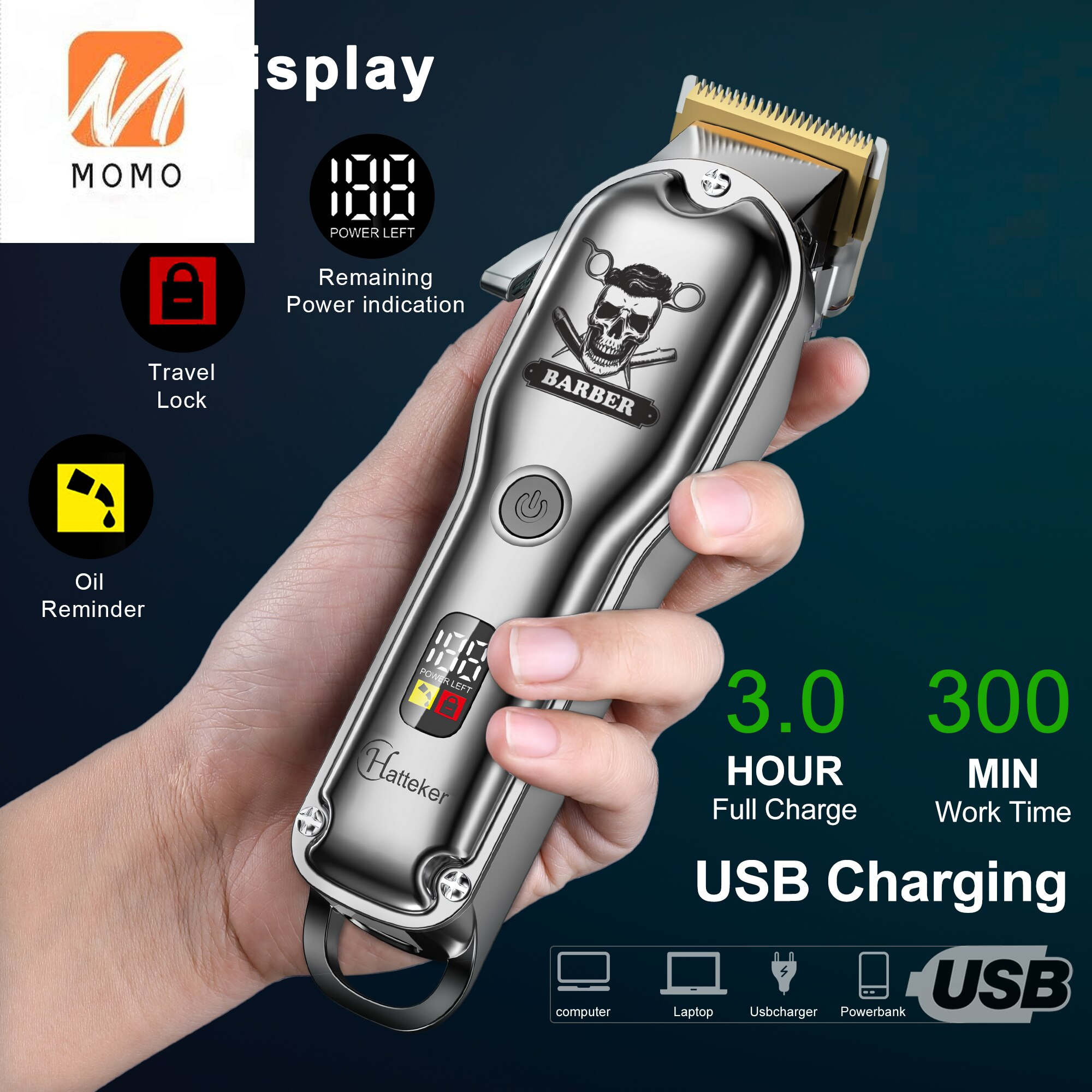 Strong Power Professional Cordless Rechargeable Hair Cutter Kit Hair Trimmer for Barber Shop enlarge
