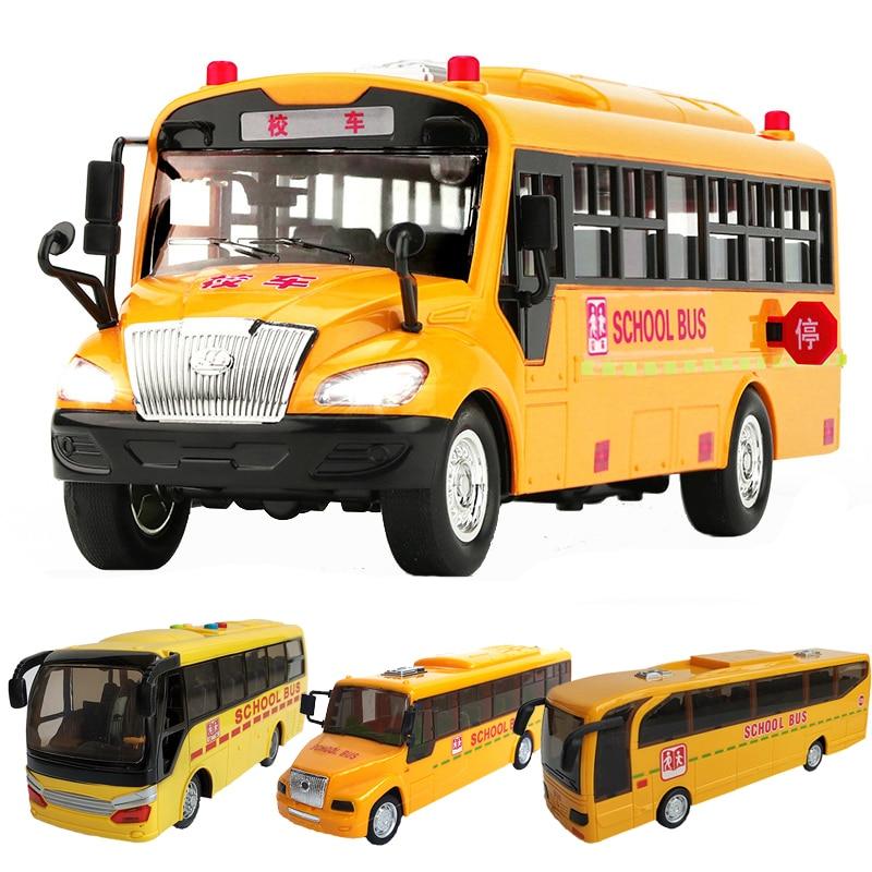 4 Styles Inertial School Bus Model Toys Acousto Optic Vehicle Lighting up Music Cars Toys for Children Boy Birthday Xmas Gift