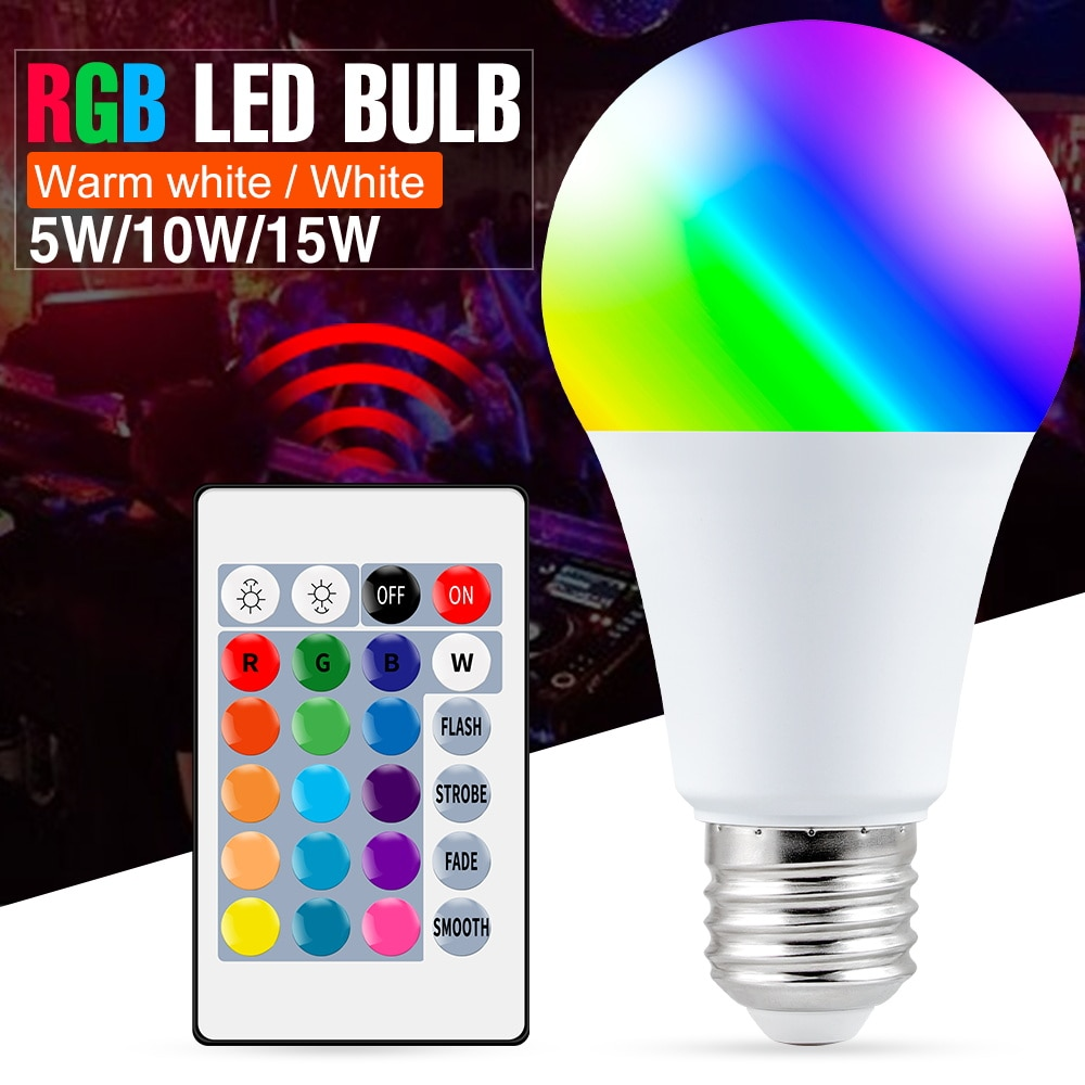 E27 Smart Control Lamp Led RGB Light Dimmable 5W 10W 15W RGBW Colorful Changing Bulb Lampada White Decor Home