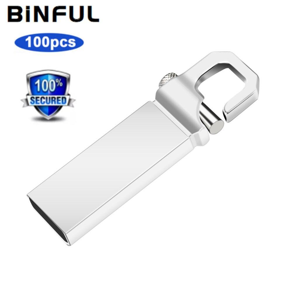 BiNFUL 100pcs Usb Flash Drive LGOG Pen Drive 32GB Usb Flash Disk 1GB 2GB 4G 8GB 16GB Flash Memory Card Metal waterproof Pendrive