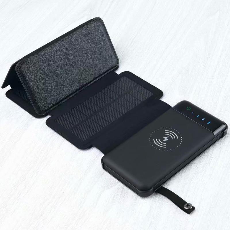 Large Capacity Universal Solar Powerbank 12000mah External Battery Pack Wireless Charger Phone Waterproof Foldable Power Bank