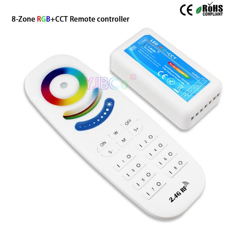 2,4G 8 zonas RGB + CCT controlador táctil 4A * 5CH DC12V 24V 5 canales RGBWC regulador con receptor para módulos de tira de luz led