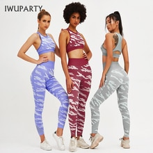 IWUPARTY 2 pièces/ensemble Camouflage Yoga ensemble femmes maille Fitness Yoga sport soutien-gorge Crossfit taille haute gymnase Camouflage Legging pantalon costume dentraînement