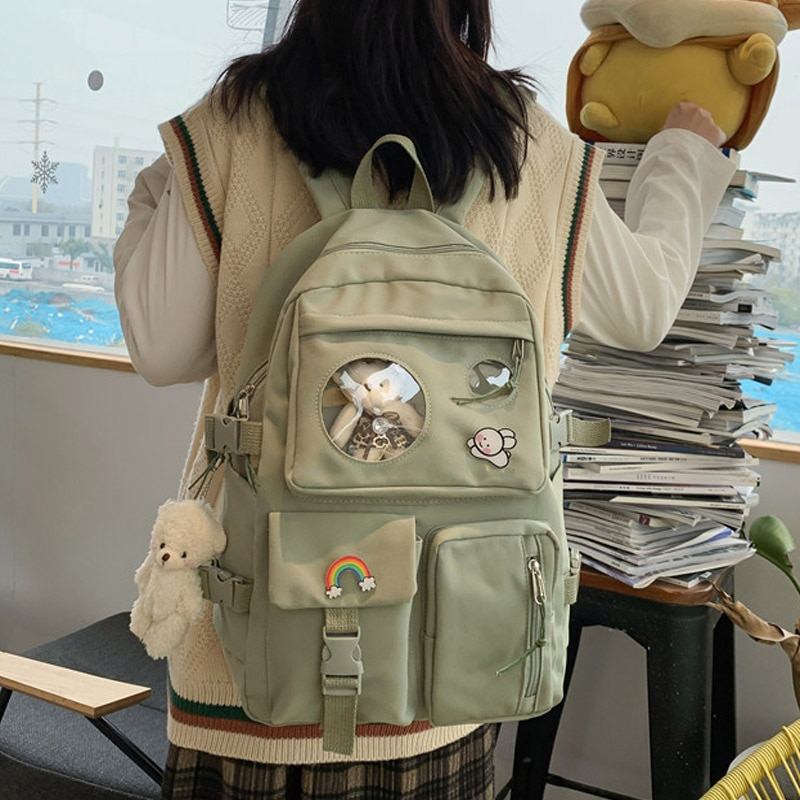 Cute Women Backpack with Transparent Pocket Female Waterproof High Schoolbag Fashion School Backpack