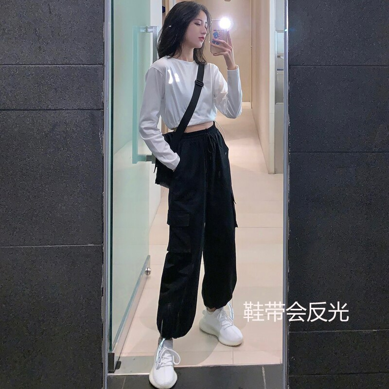 Sakurada Kawashima Ins Korean Style 2021 New Spring Sports Cargo Women's Loose BF Style Ankle Banded
