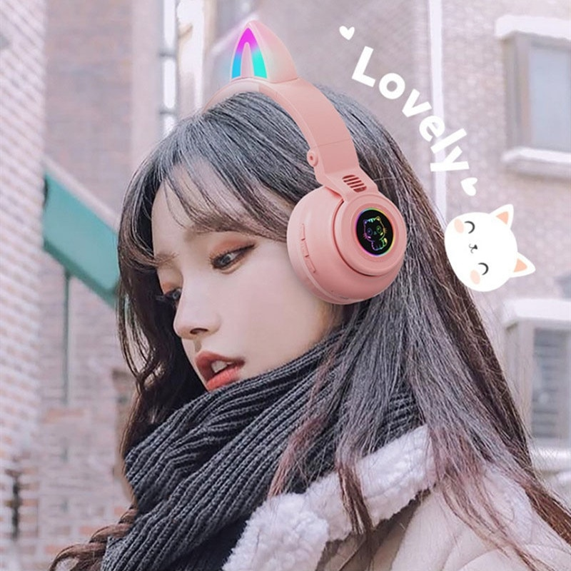 Bluetooth 5.0 Headset Cat Ear Wireless LED Light Mobile Phones Headphone Stereo Music Headphones Girl Daughter Headset For PC enlarge