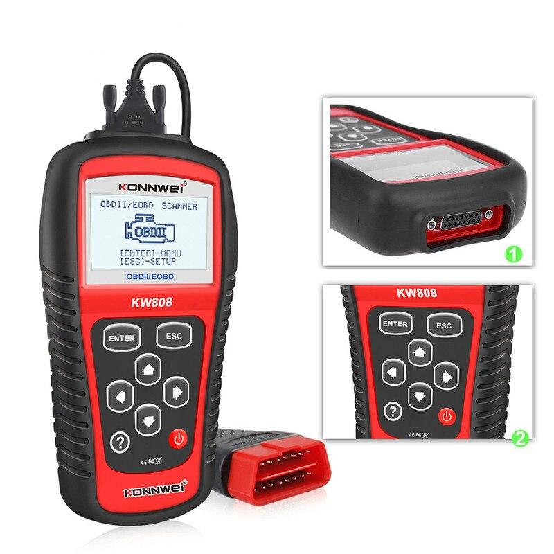 KW808 OBD Автомобильный сканер OBD2 автомобильный диагностический сканер для цифровых фотокамер поддержка может J1850 двигателя Fualt код ридер