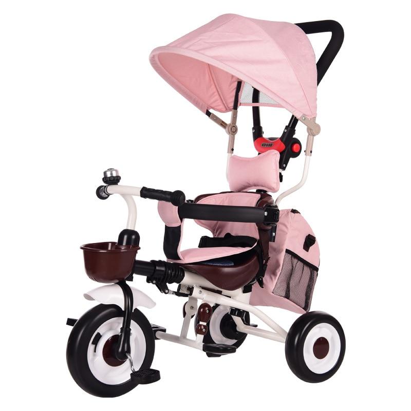 1-5 سنوات من العمر الاطفال عكسها دراجة ثلاثية العجلات دراجة أطفال Pedicab الطفل اليد دفع المحمولة للطي عربة ثلاثية العجلات