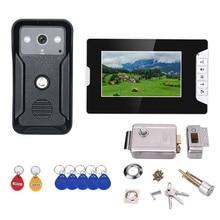 Système de porte interphone vidéo 7 pouces RFID   Sonnette HD, caméra 1000TVL avec serrure de porte électronique en acier inoxydable pour la maison