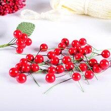 100 pièces artificielle rouge Berry fleur rouge perle baies branche pour mariage décoration de noël bricolage cadeau boîte artisanat fleur