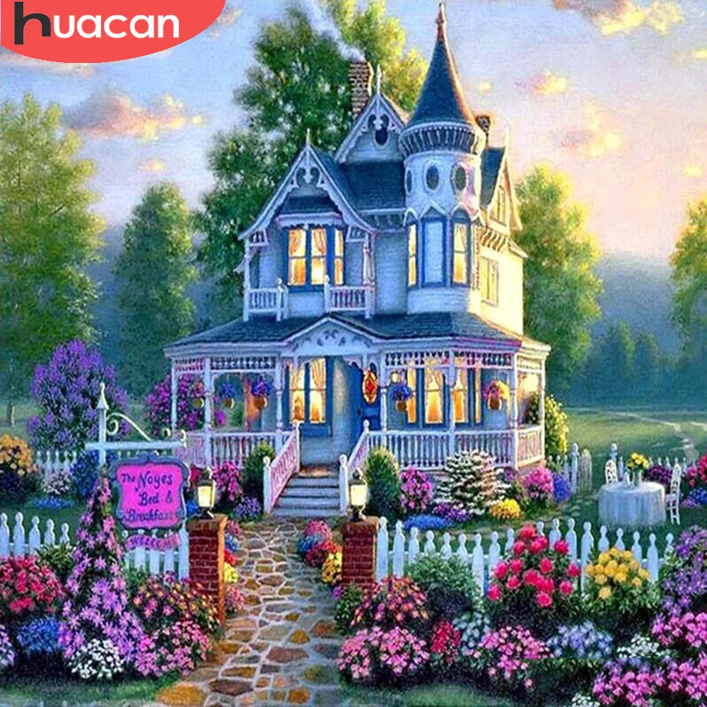 HUACAN Diy Diamond Painting Castle House Square/round Diamond Mosaic Garden Scenery Embroidery Home