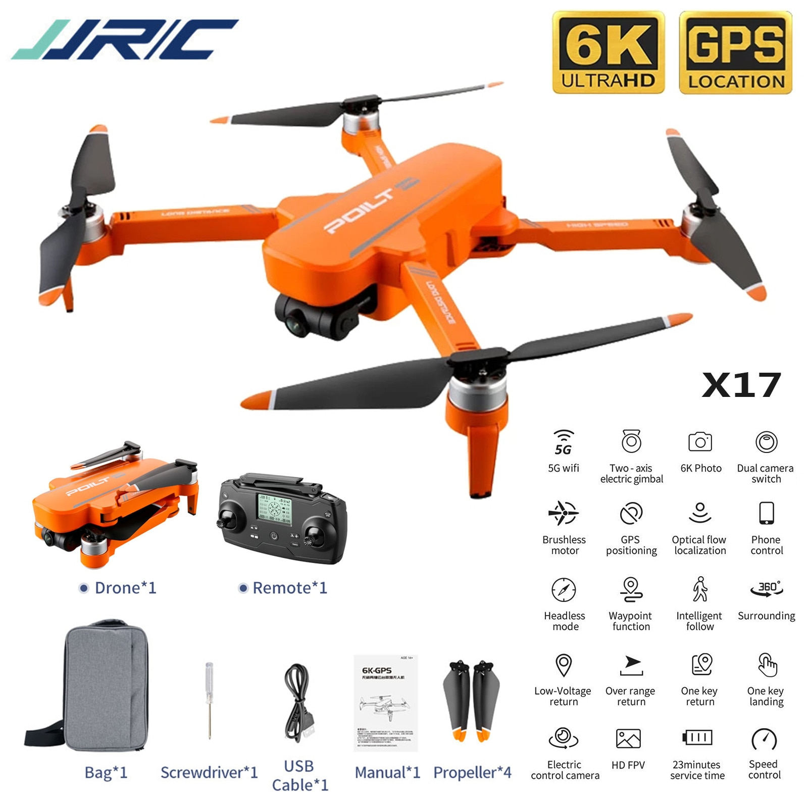 RC Drone Jjr / C X17 6k Hd Dual Camera Aerial Drone Foldable Brushless Motor 5G Wifi Gps Positioning Return Home Quadcopter #F