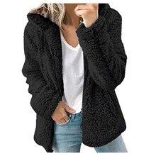 Women Wool & Blends Casual Winter Women Faux Fur Coat Solid Color Long Sleeve Fluffy Outerwear Short