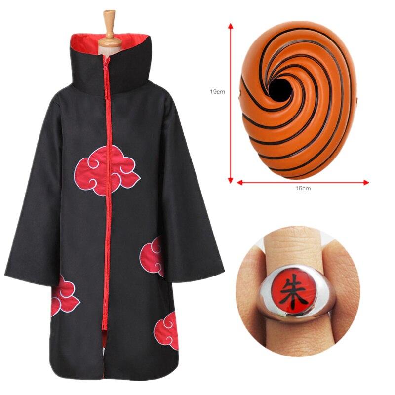 Naruto Tobi Obito Cosplay Costume Akatsuki Long Sleeve Cloak Halloween Carnival Funny Adult Cosplay Costume hot naruto sai cosplay costume halloween costume full set