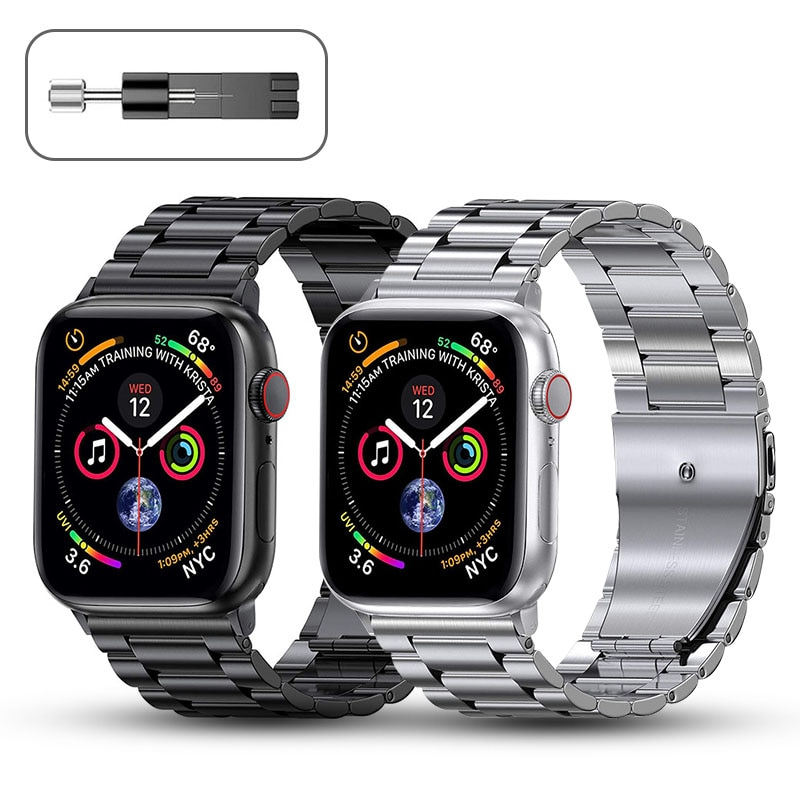metal strap for apple watch band 44mm 42mm 40mm 38mm stainless steel bracelet for for iwatch 6 se 5 4 3 2 1 series accessories Metal Strap for Apple Watch Band 44mm 42mm 40mm 38mm Stainless Steel Bracelet for for iWatch 6 SE 5 4 3 2 1 Series Accessories