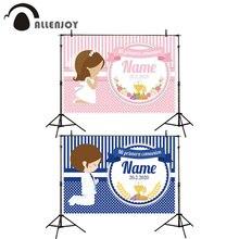 Allenjoy Meine Erste Kommunion Partei Banner Rosa Blau Streifen Dot Blumen Baby Dusche Photozone Mädchen Junge Taufe Geburtstag Kulissen