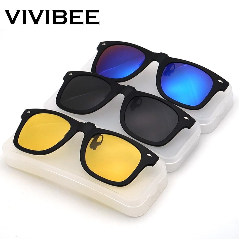 VIVIBEE Flip Up Clip on Sun Glasses for Men Driving Glasses Clips Light Fishing Female Anti-UVA UVB