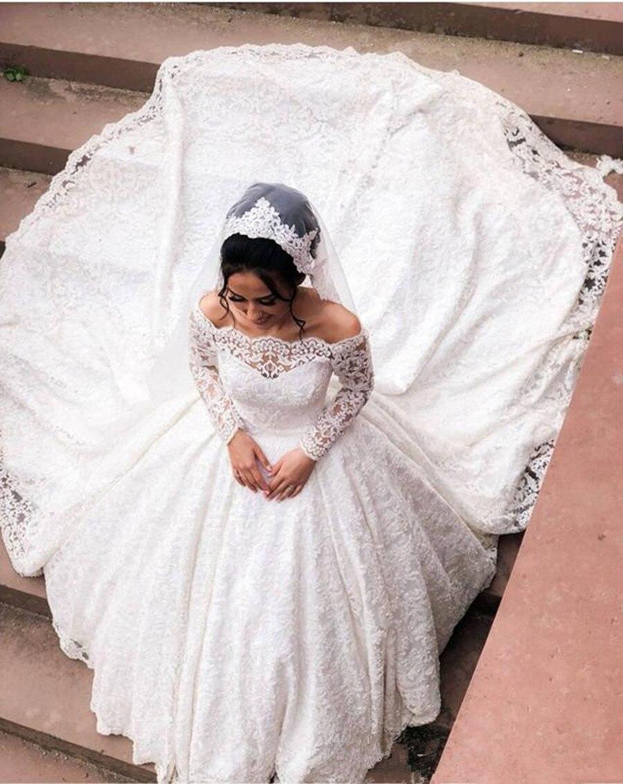 Vestidos de novia con apliques de encaje de lujo, con mangas largas...
