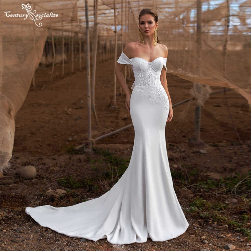 smileven summer beach wedding dress beaded princess satin bridal gowns off the shoulder boho wedding gowns custom made Simple Boho Wedding Dresses Mermaid 2021 Beaded Lace Appliques Off the Shoulder Beach Bridal Gowns Bride Dress Vestido De Noiva