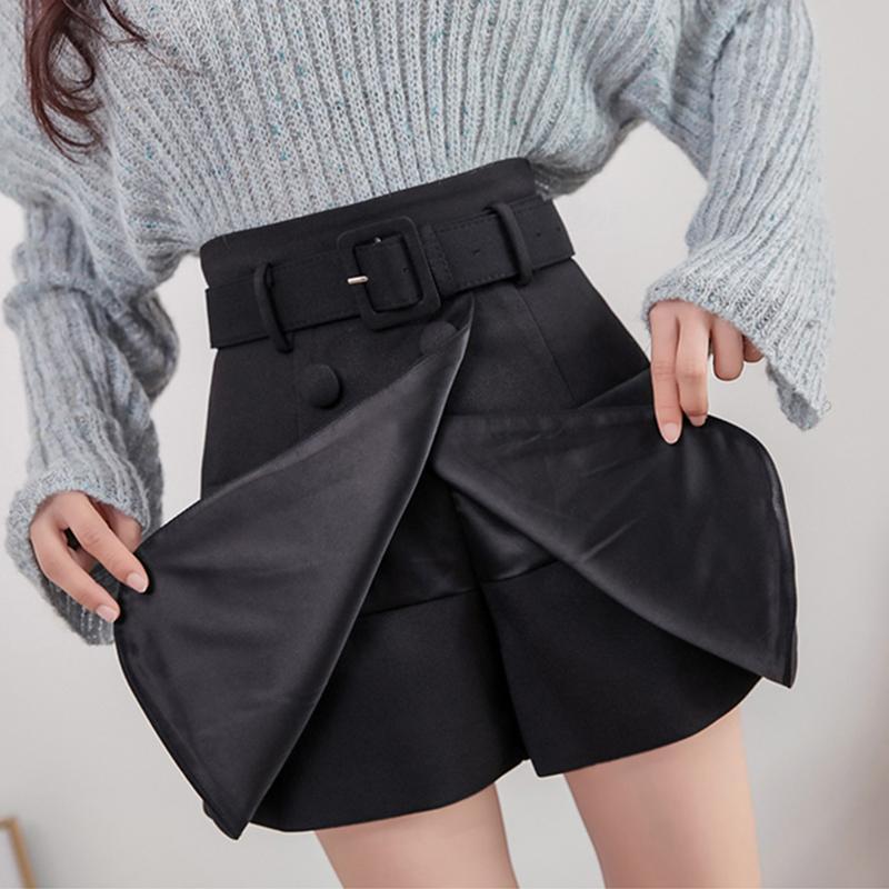 Retro Belt Shorts Women High Waist Black Fake Two Piece Shorts Skirts Female Plus Size Skirt Short Mini Skirts Short Casual