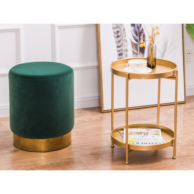 Metal dorado de Mini Mesa de pastel de té mesa de café bandeja extraíble Sala tetera sofá centro de mesa para el teléfono soporte