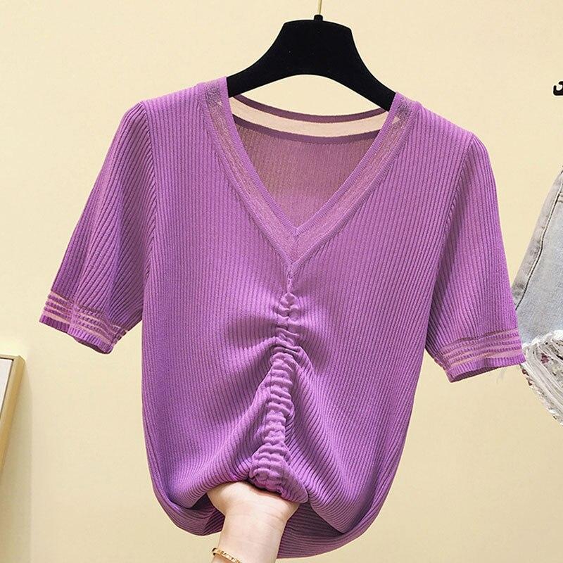 Camiseta de punto para mujer, Popsocket, cuello en V profundo, Camisetas básicas sólidas, encaje Delgado, Pactwork, camiseta de estilo coreano, Tops para mujer, verano 2020