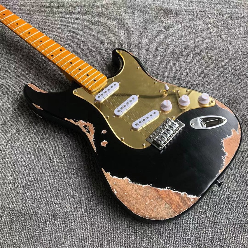 Antique electric guitar, white set, black, real photos, free shipping, maple fingerboard. Gold mirror shield enlarge