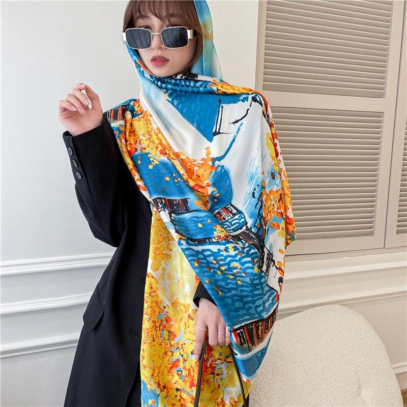 New 2021 Print Silk Scarf Hijab Women Summer Autumn Travel Beach Stoles Blanket Muslim Headband Neckerchief Foulard Shawl Wraps