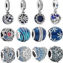 Hot Koop 925 Sterling Zilver Blue Night Sky Sparkling Star Ocean Charms Kralen Fit Originele Pandora Armbanden Vrouwen Sieraden Gift